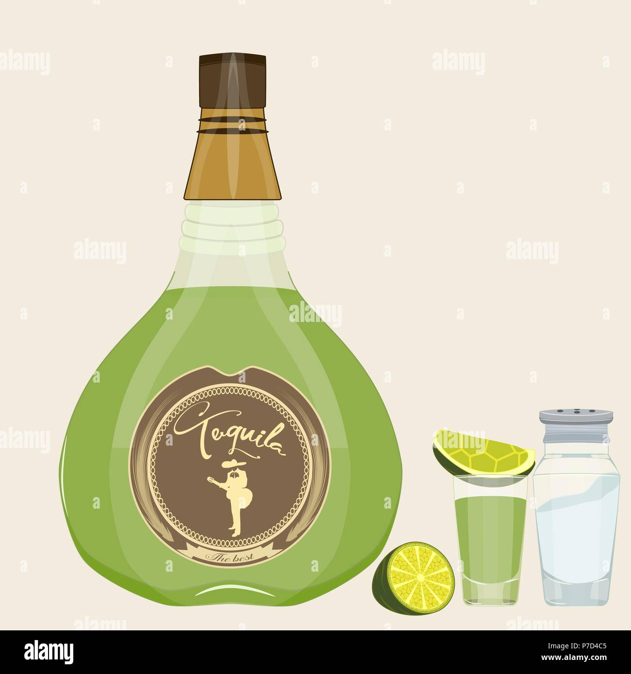 Tequila set. Vector isolated illustration of tequila bottle, shot glass with slice of lime and salt. Tequila bottle packaging with label mock up. Flat Stock Vector
