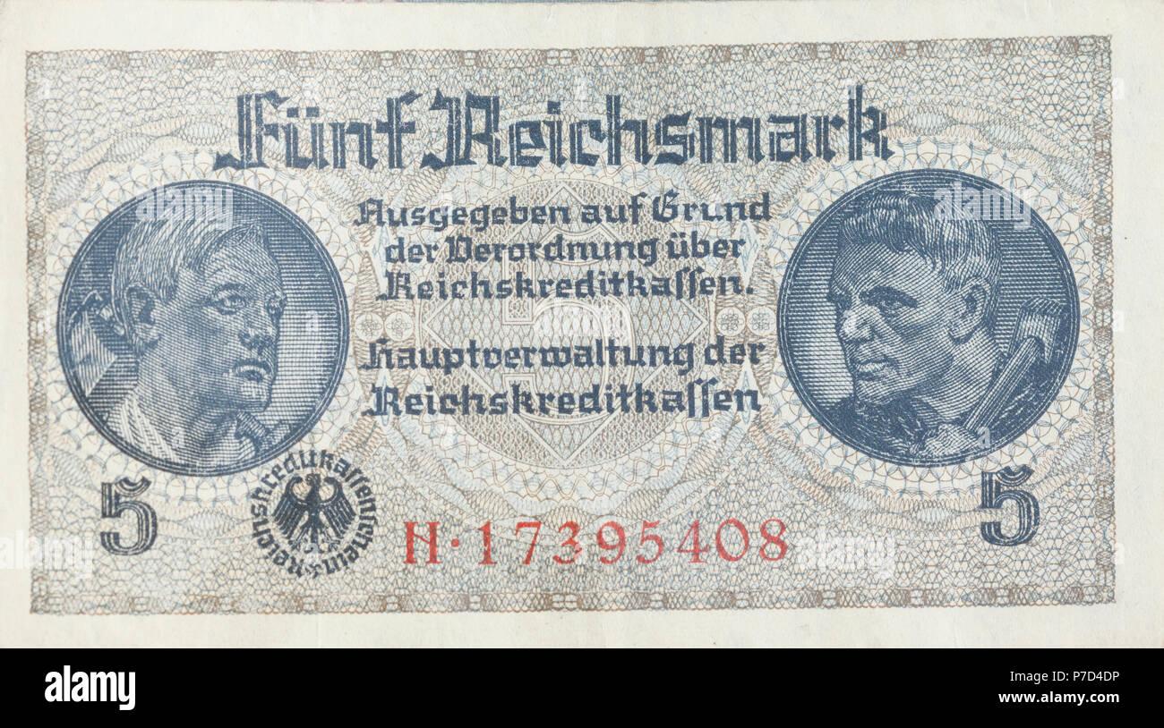 5 Reichsmark, banknote, obverse, 1939-1945 issues of the 2nd World War, Reichskreditkasse - Stock Image
