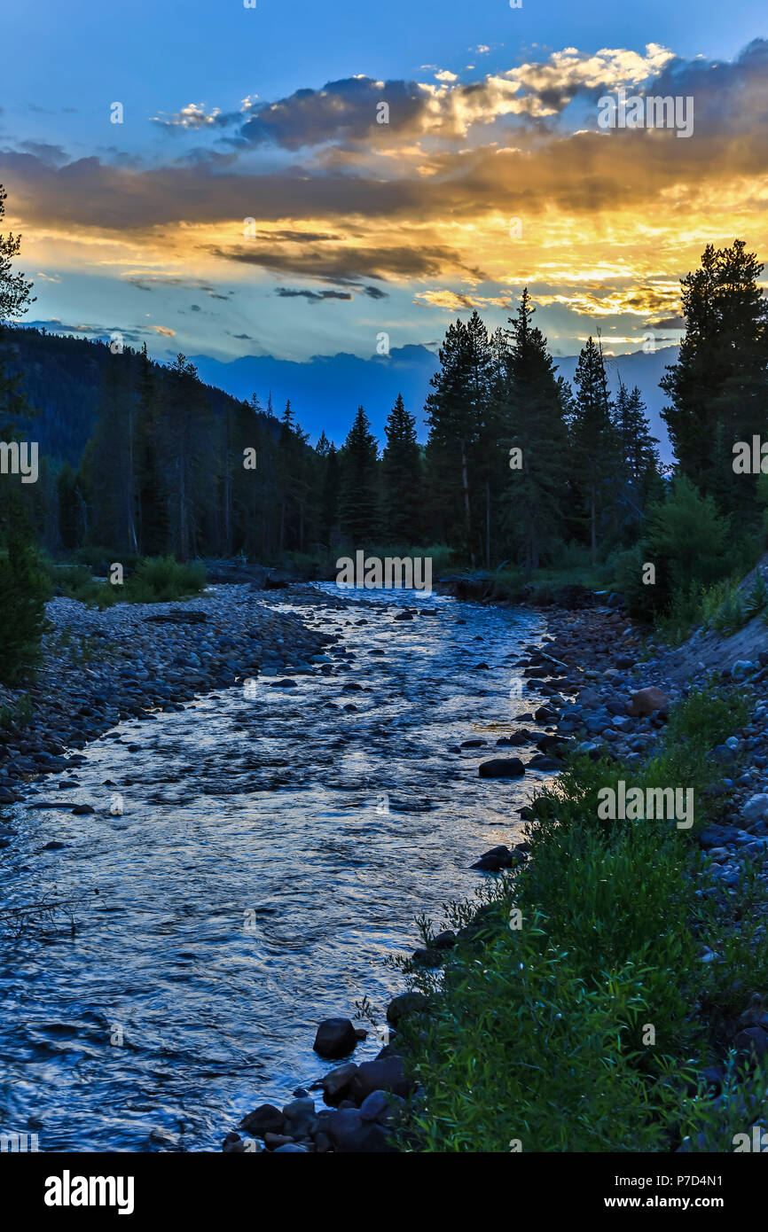 In this scene the setting sun reflects on the Provo River in the Soapstone area of the Uinta Mountains, Uinta-Wasatch-Cache National Forest of Utah. - Stock Image