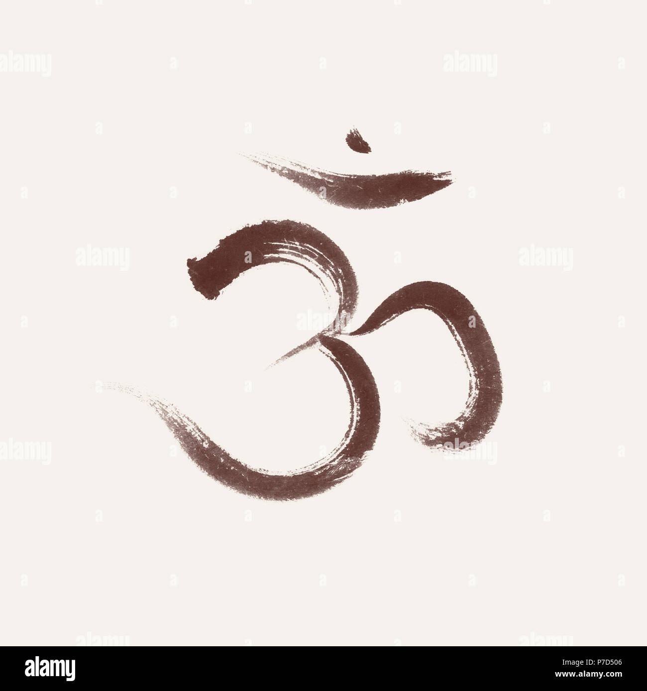 Sanscrit sacred symbol Om or Aum, spiritual icon, associated with the crown chakra in Yoga, Artistic design based on an original - Stock Image