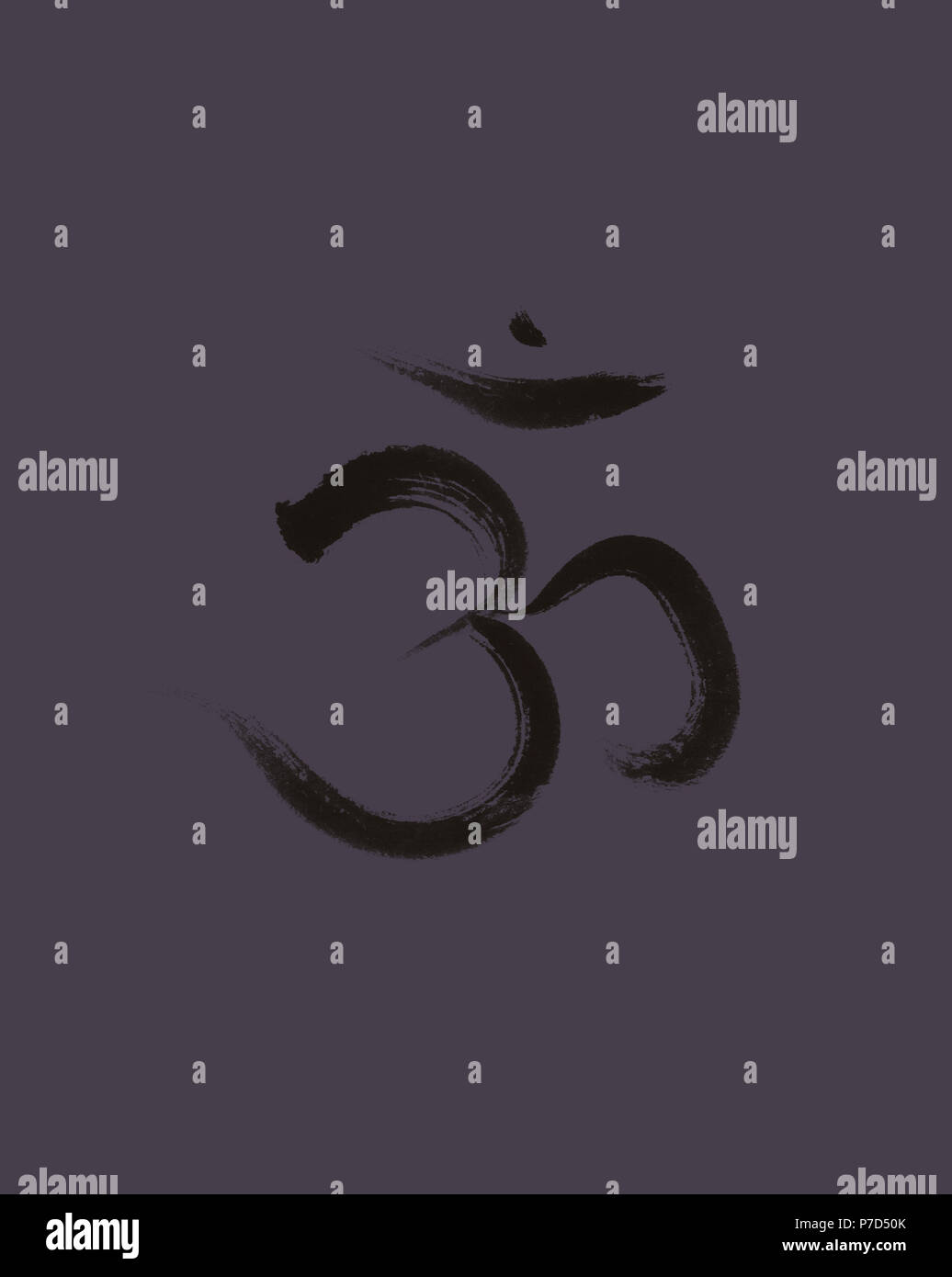 Sanscrit sacred symbol Om or Aum in Yoga, spiritual icon design on dark space gray background, Artistic Japanese Zen Stock Photo