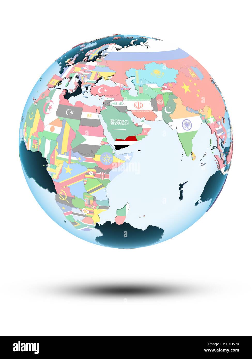 Yemen on political globe with shadow isolated on white background. 3D illustration. Stock Photo