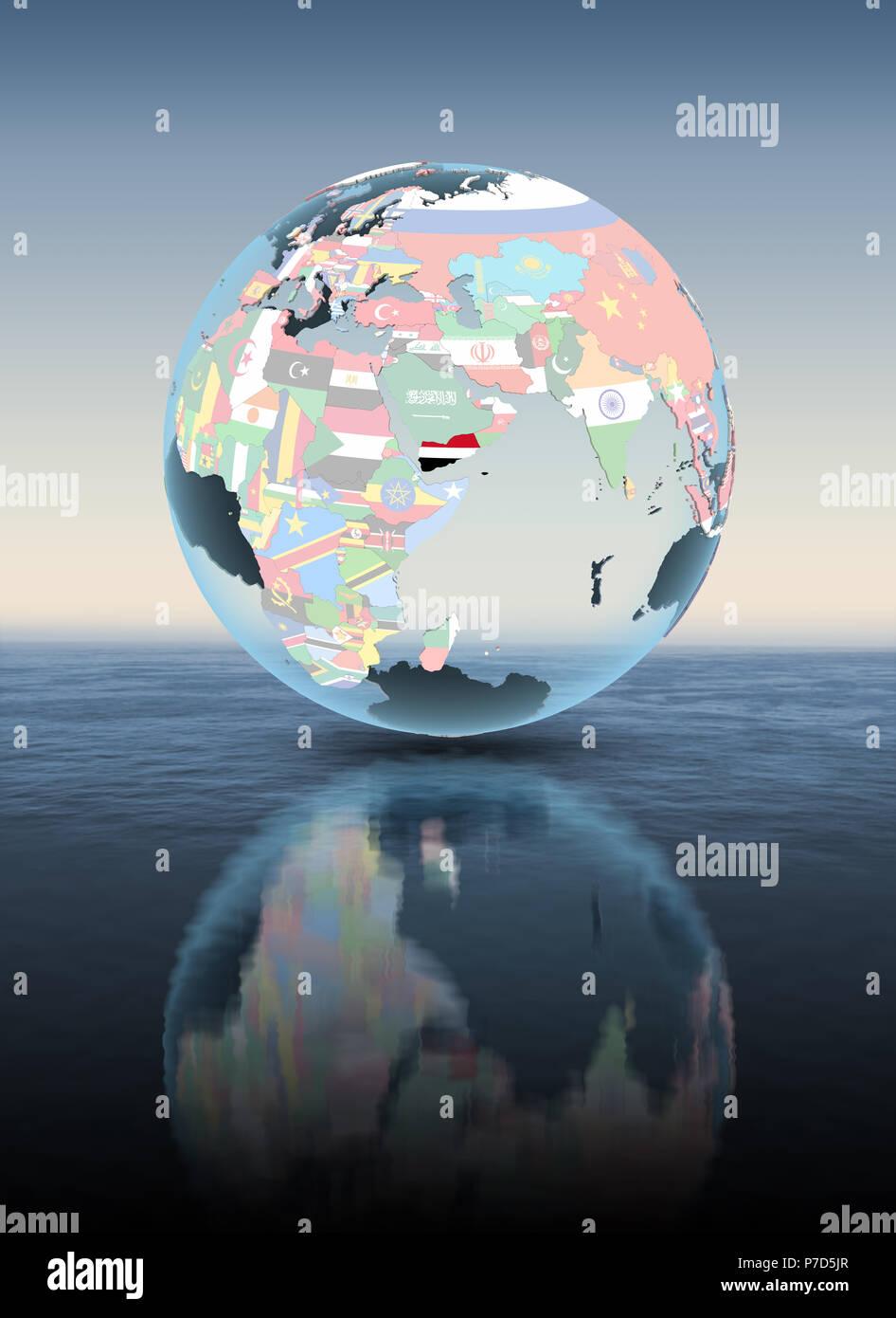Yemen on political globe floating above water. 3D illustration. - Stock Image