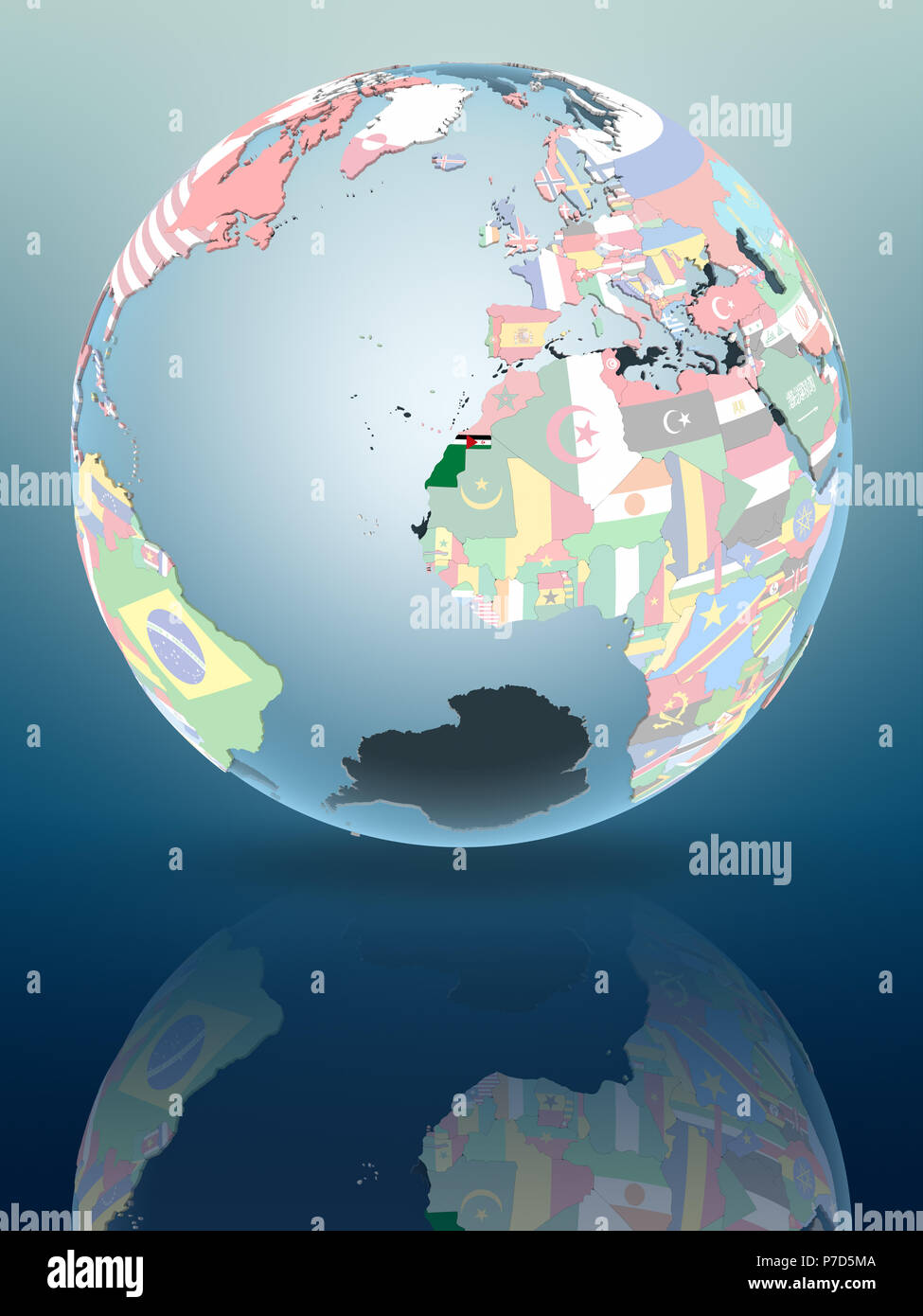 Western Sahara on political globe reflecting on shiny surface. 3D illustration. - Stock Image