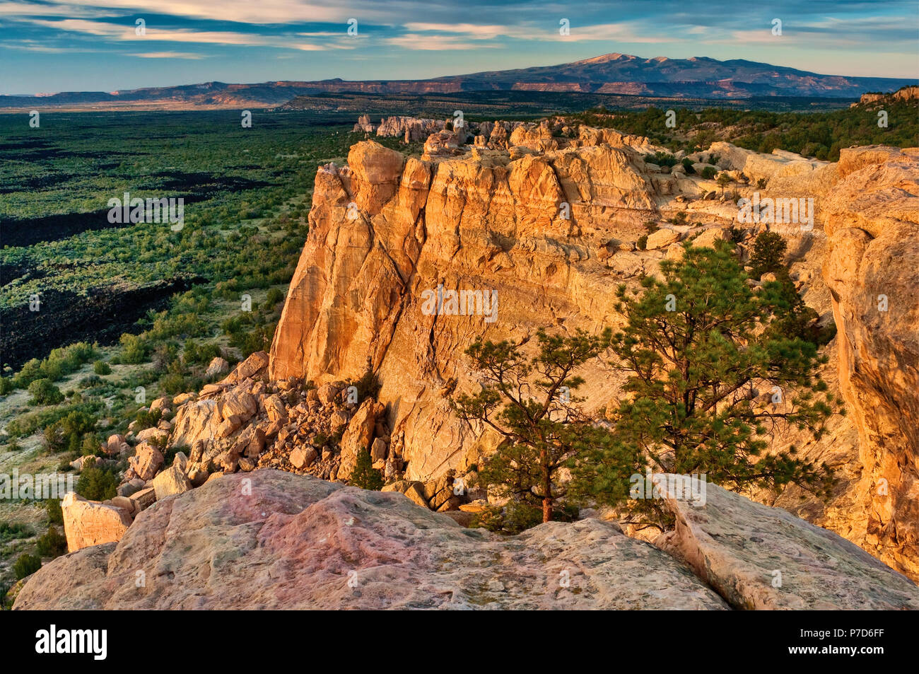 Sandstone Bluffs over lava field at El Malpais National Monument, sunset, Mt Taylor in San Mateo Mountains in distance, New Mexico, USA - Stock Image
