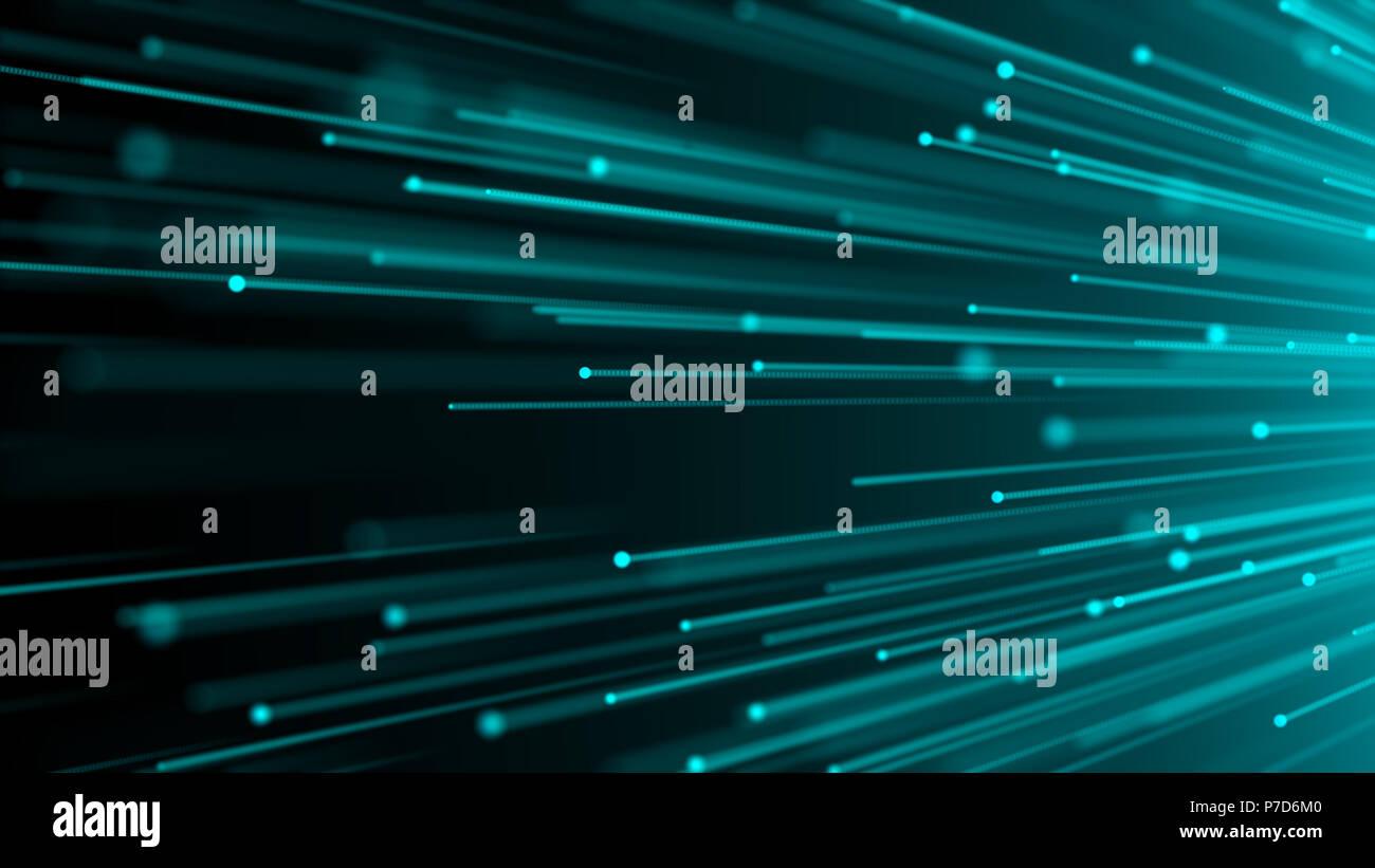 3d image concept of optical fiber, glare effect on tips of optical fiber, 3d render background, computer generated backdrop Stock Photo