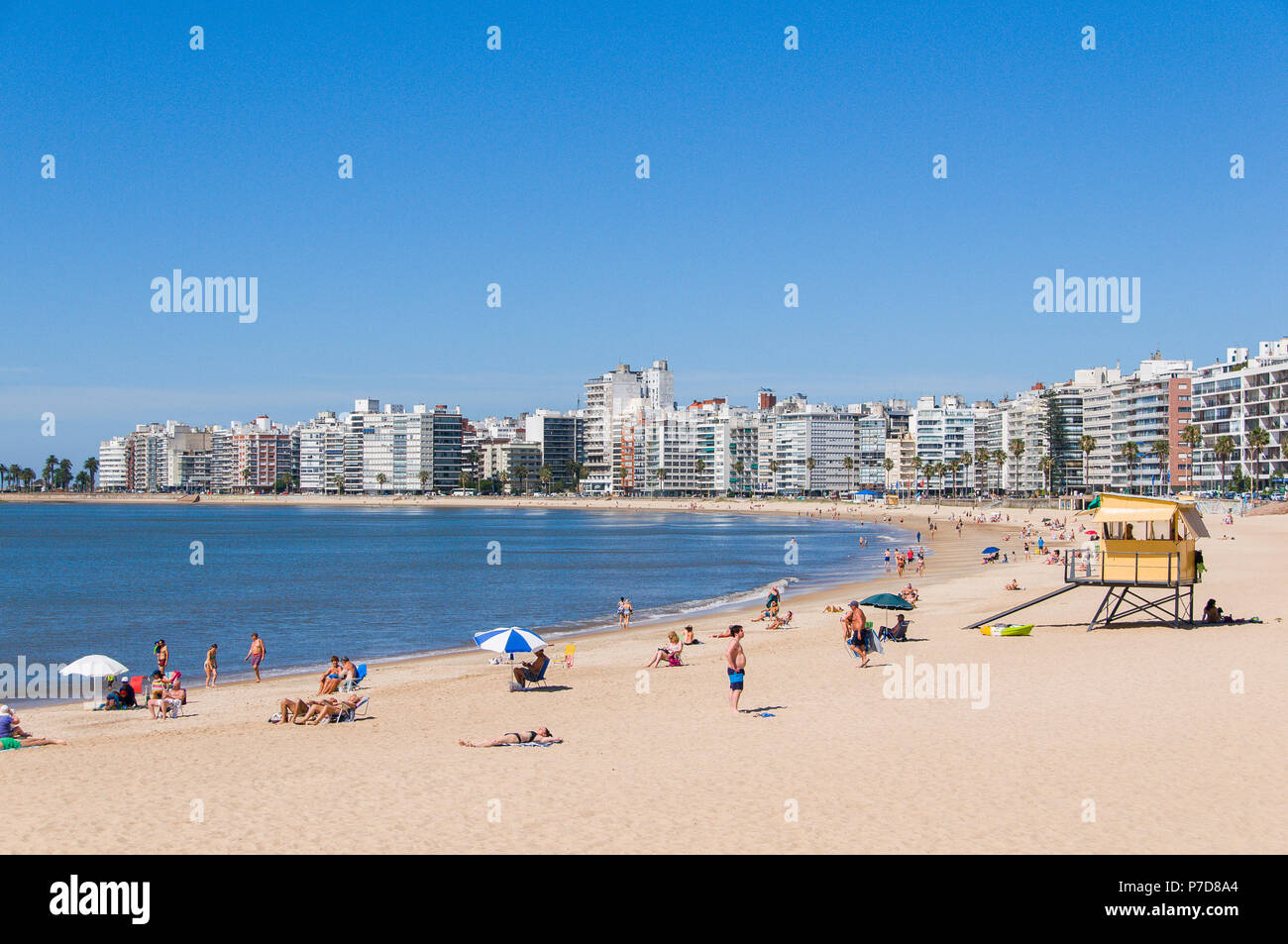 Swimmers at the city beach and skyscrapers in Montevideo, Uruguay - Stock Image