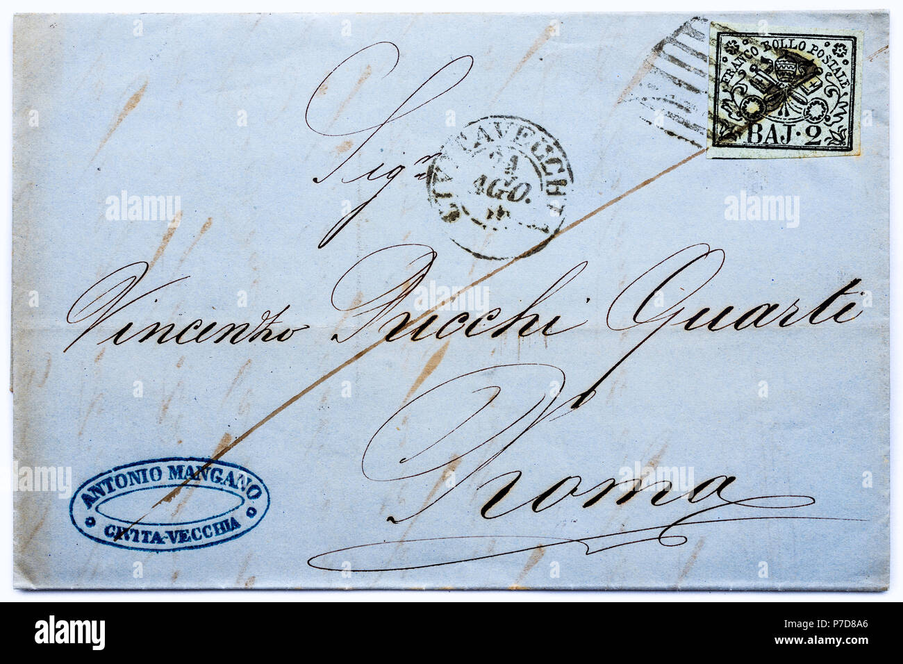 1852 Papal States (Italy) postage stamp on letter. - Stock Image