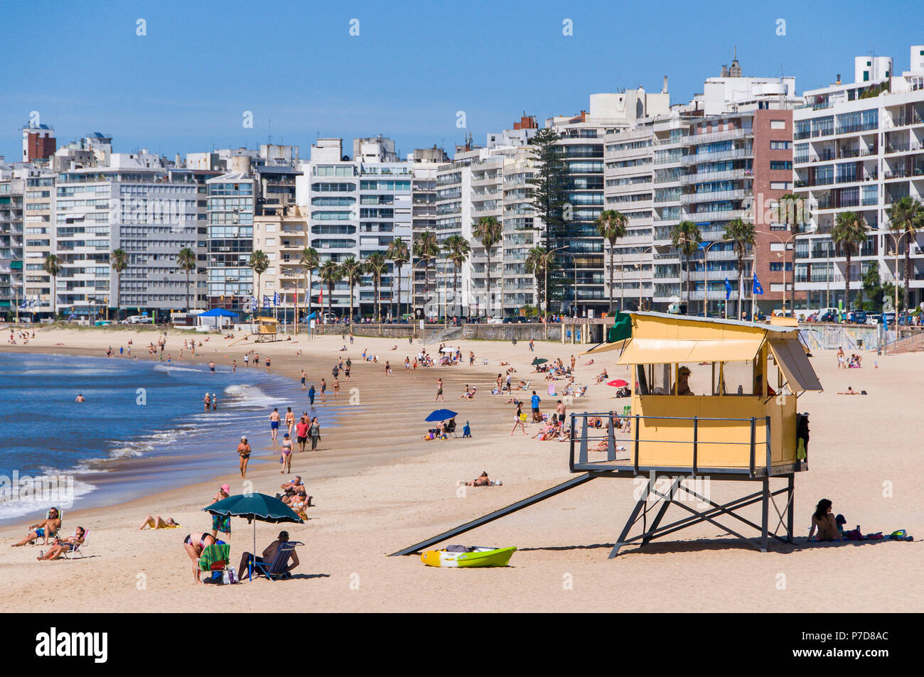 Swimmers at the city beach, lifeguard tower and skyscrapers in Montevideo, Uruguay - Stock Image