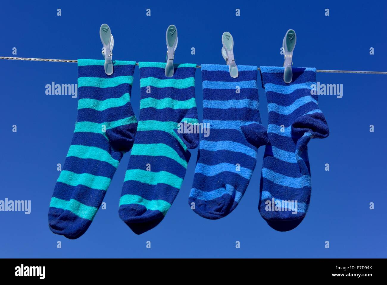 Two pairs of striped blue socks hanging on a washing line against a blue sky on a sunny day. - Stock Image