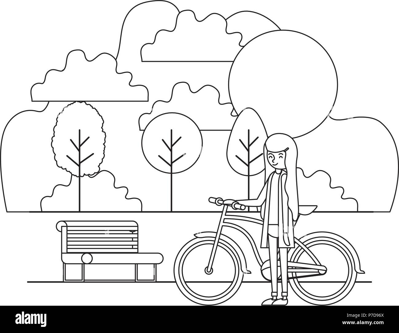 woman with bike black and white stock photos images alamy Old School Panhead Chopper woman in the park with bicycle stock image