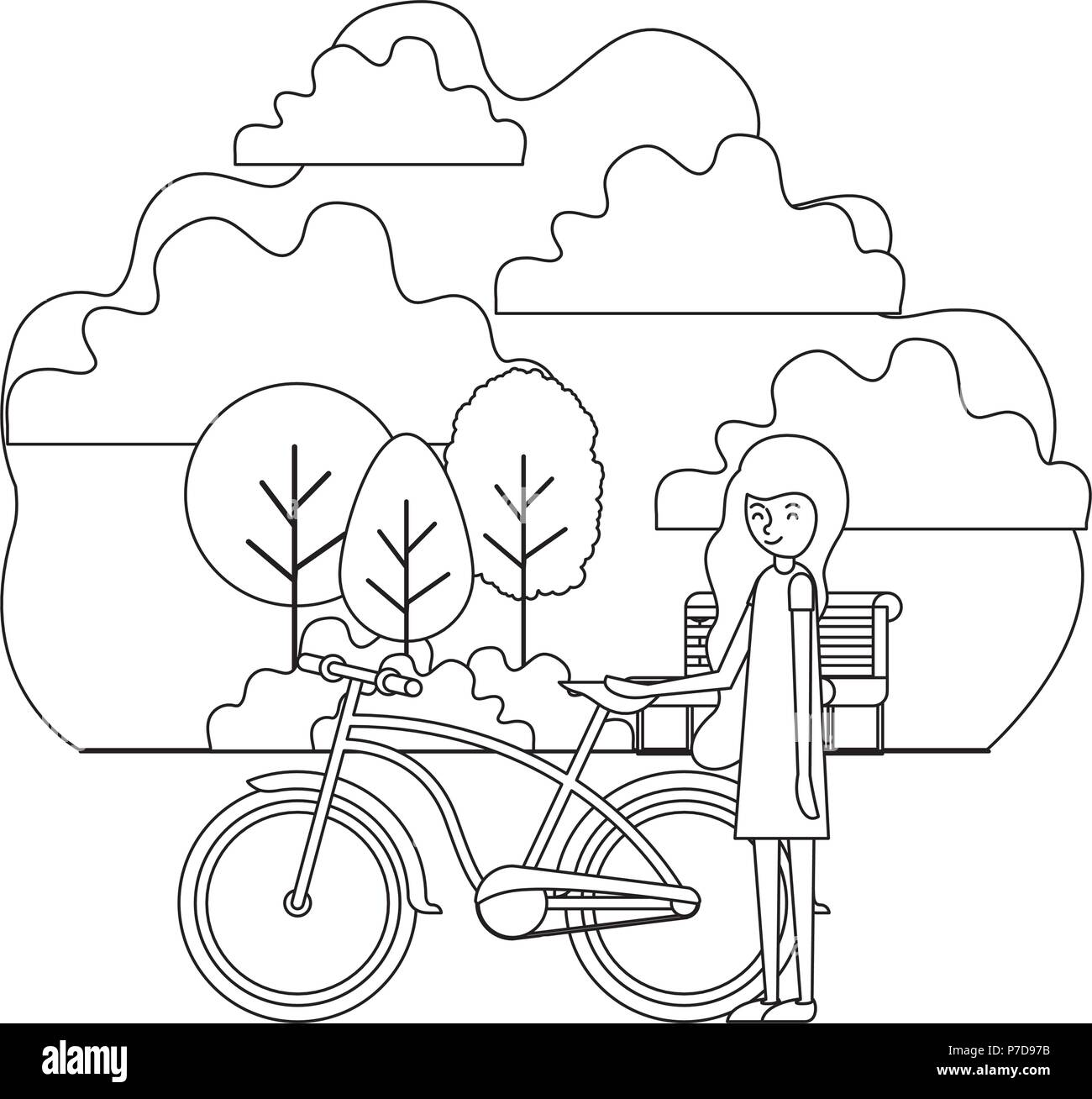 woman with bike black and white stock photos images alamy Harley Chopper 1970 Couples woman in the park with bicycle stock image
