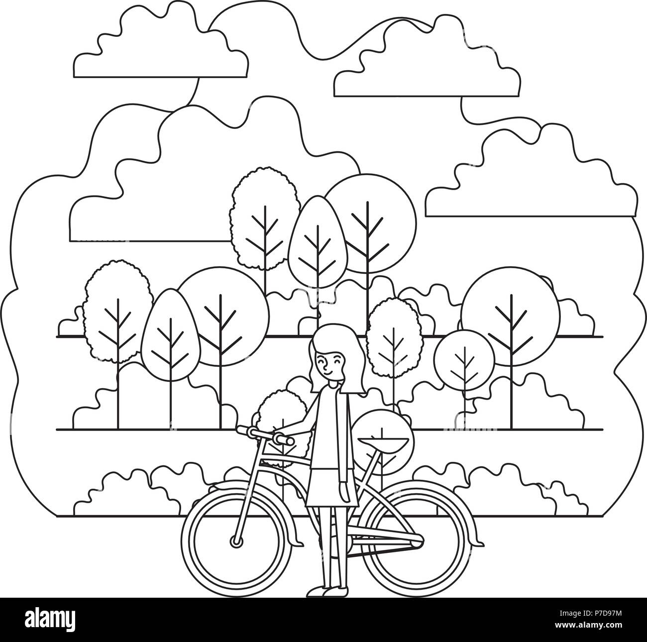 woman with bike black and white stock photos images alamy Easy Rider Chopper woman in the park with bicycle stock image