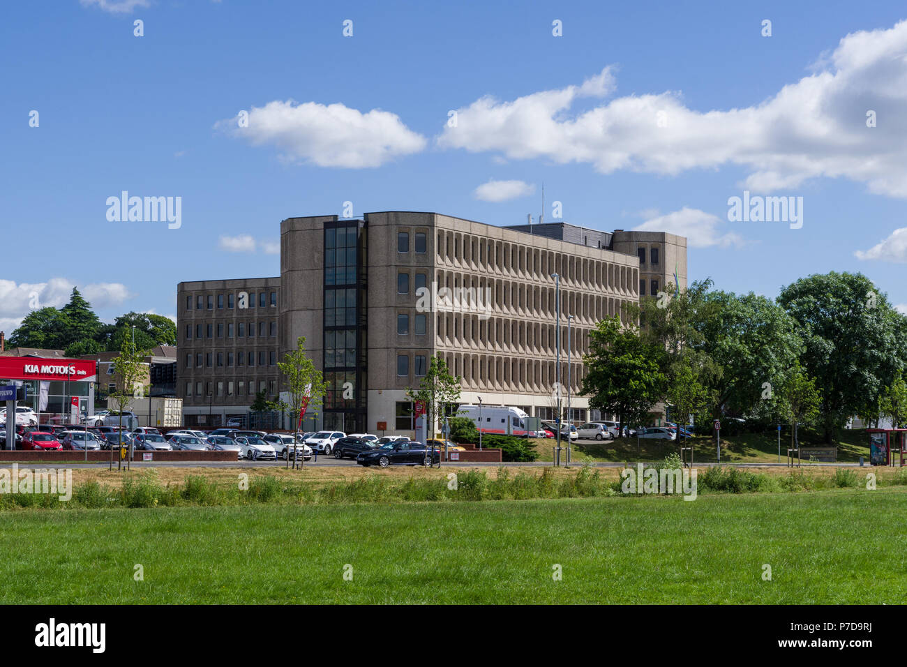 """Riverside House, a 1970's building built in the """"brutalist"""" style; Northampton, UK Stock Photo"""