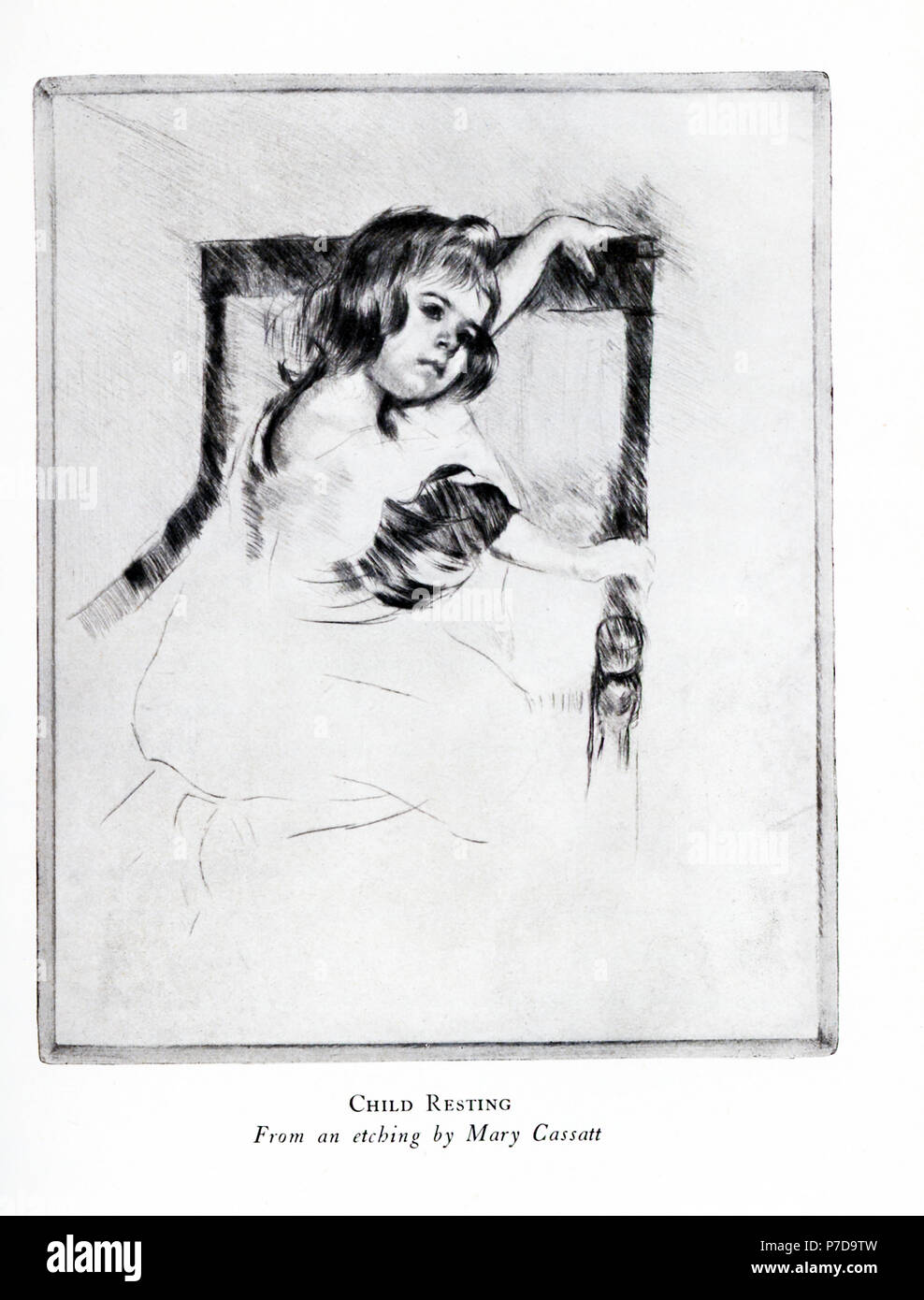 "Mary Cassatt (1844-1926) was the only American artist to exhibit with the impressionists in Paris. She became known for her paintings of domestic moments, especially her pictures of women and children. Her works were among the first impressionist works seen in the United States. This etching is titled ""Child Resting."" - Stock Image"