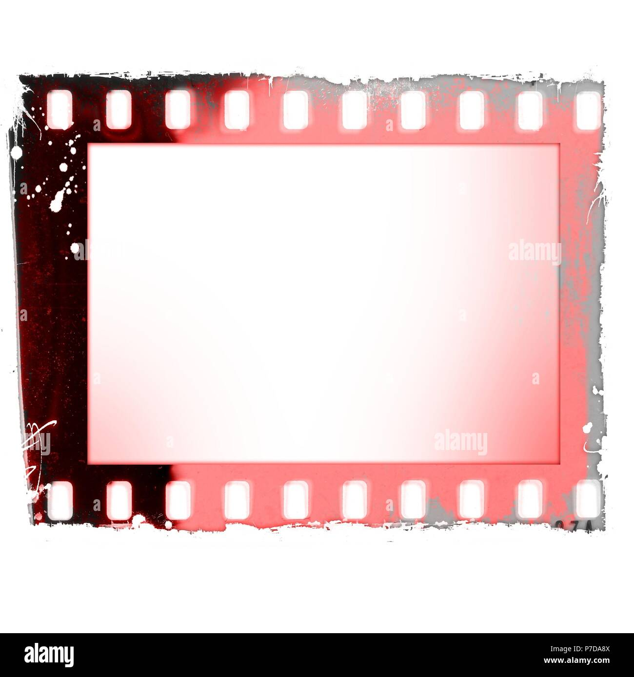 Grunge red film strip frame isolated on white Stock Photo: 211120474 ...