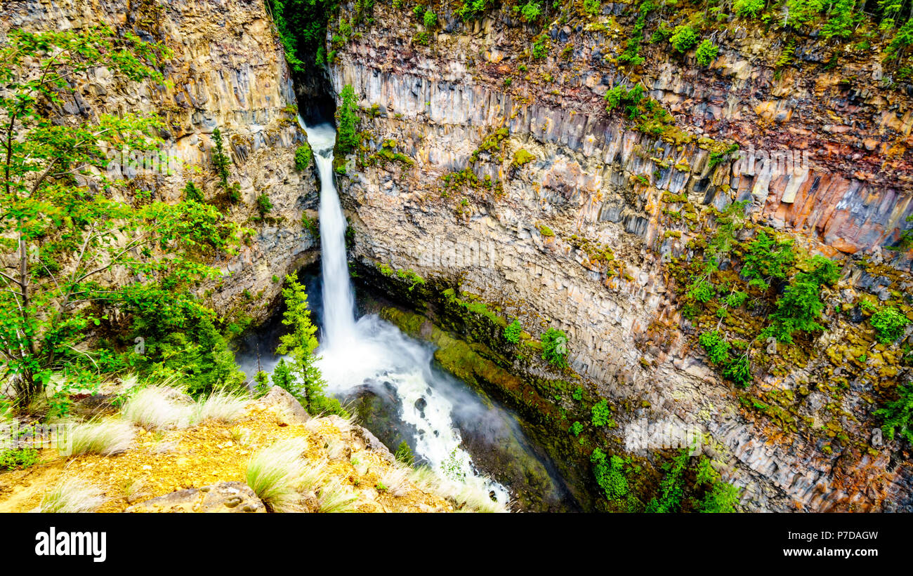 Spahats Falls on Spahats Creek in Wells Gray Provincial Park at Clearwater British Columbia, Canada - Stock Image