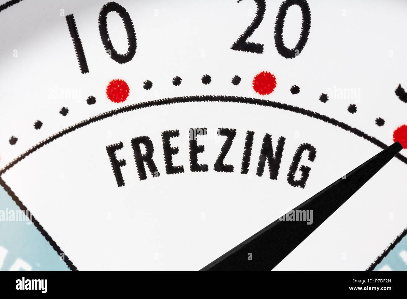 Freezing zone refrigerator thermometer macro close up detail. - Stock Image