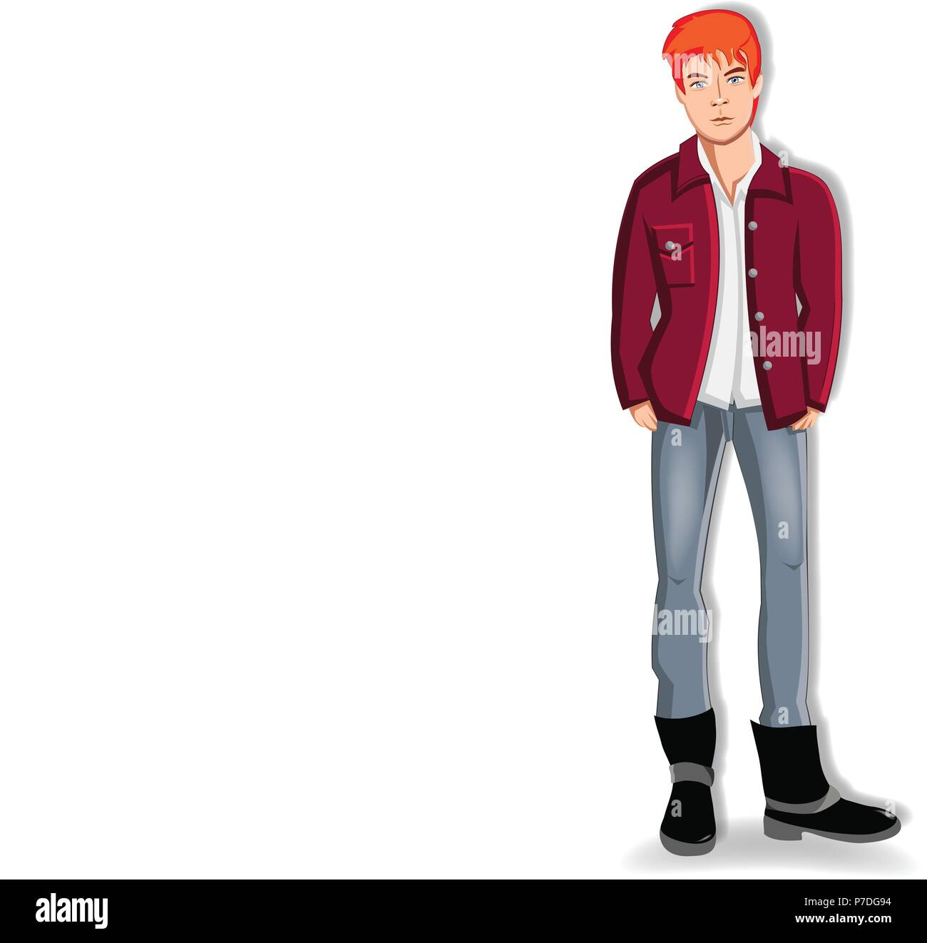 Vector illustration of handsome young redheaded man wearing casual clothes keeping hands in the pockets of jeans isolated on white background. Adorabl - Stock Image