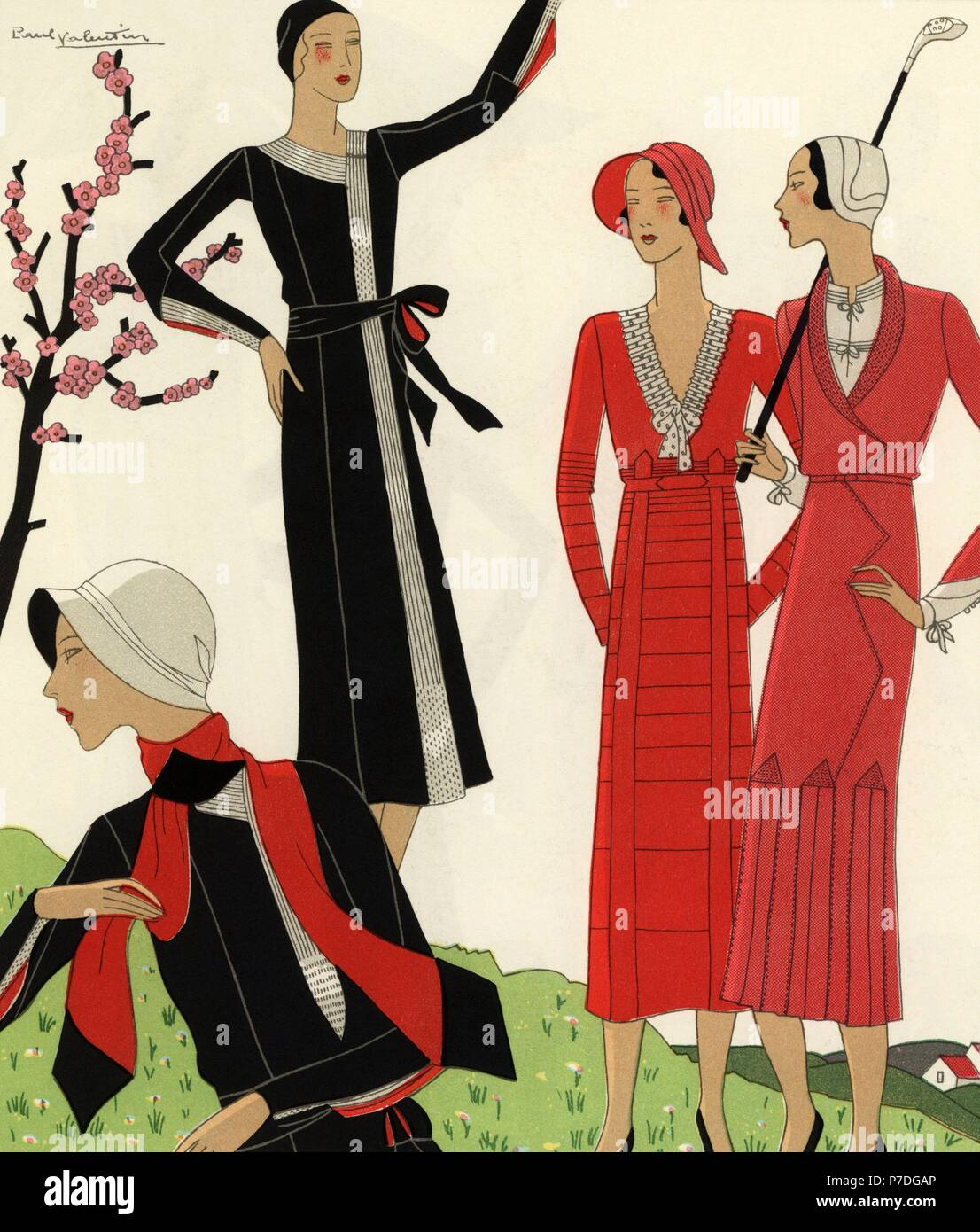 Women On The Golf Course In Spring Woman In Fancy Black Wool And