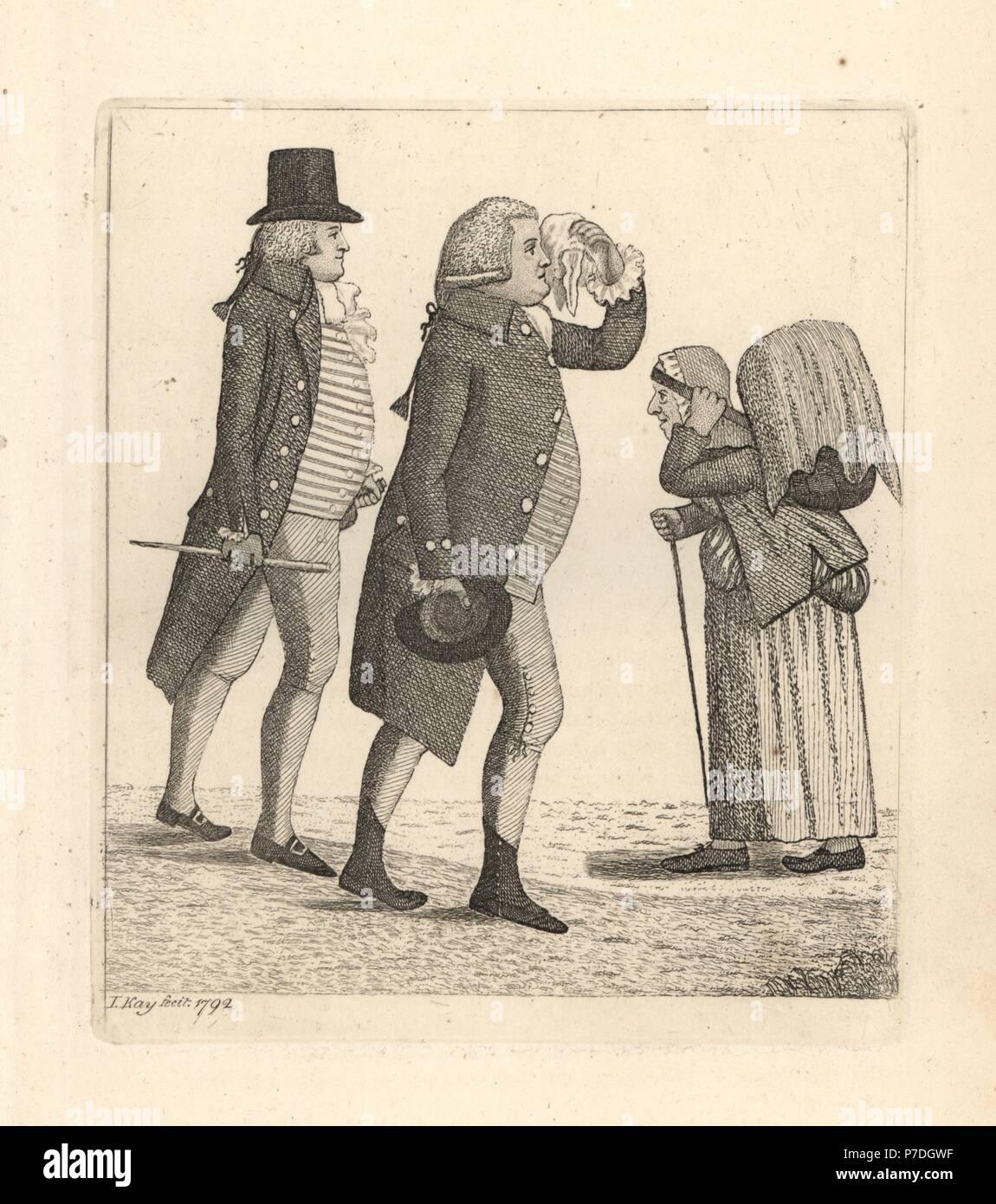Edward Innes and James Cooper losing the bet to Hamilton Bell. Copperplate engraving by John Kay from A Series of Original Portraits and Caricature Etchings, Hugh Paton, Edinburgh, 1842. - Stock Image