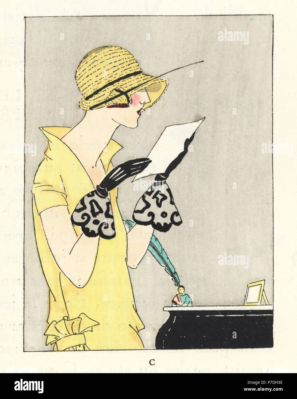 Woman in lemon yellow dress, cloche straw hat and black lace gloves