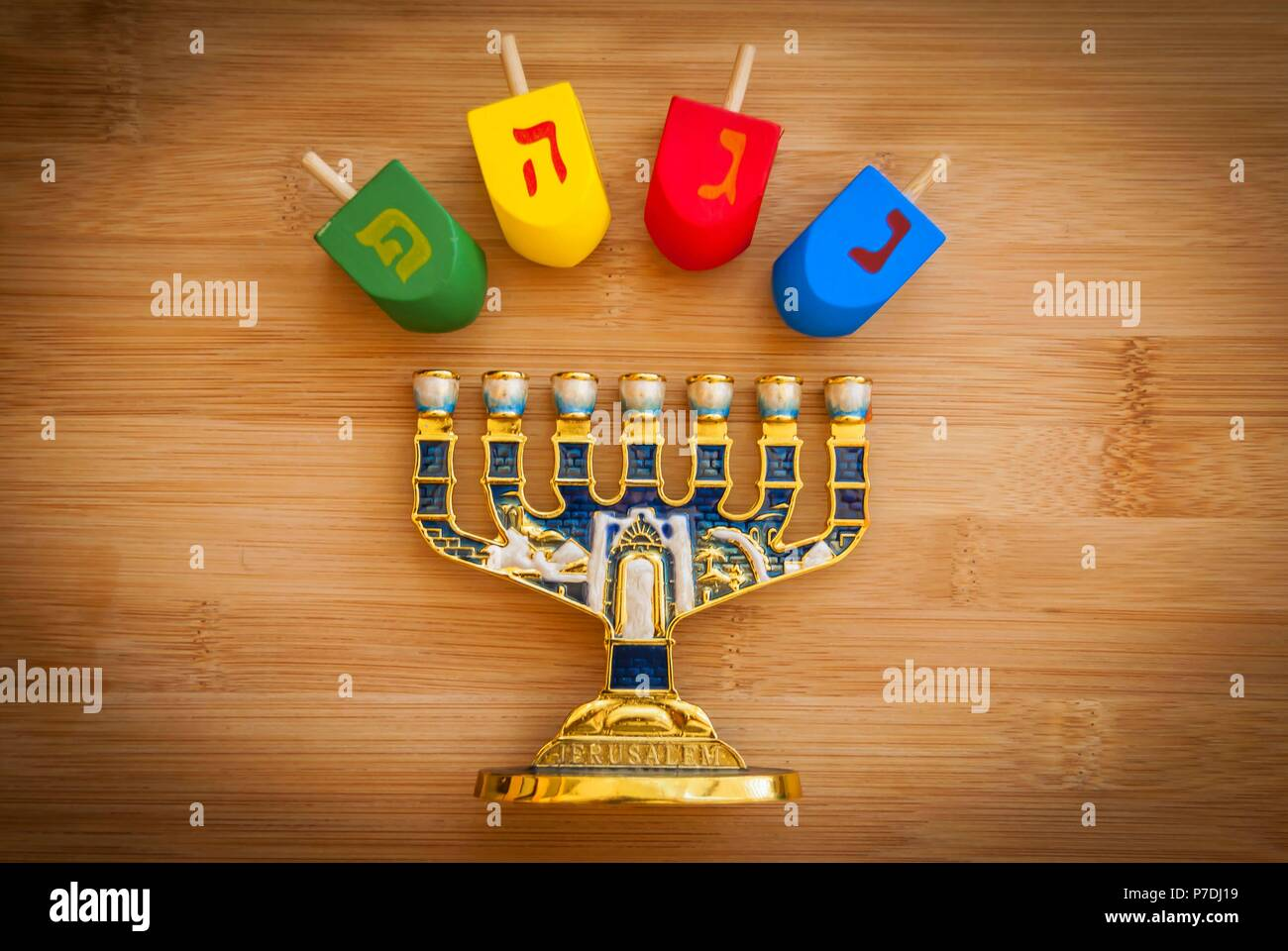 The Jewish Hanukkah Holiday Concept Stock Image Hebrew Letters On