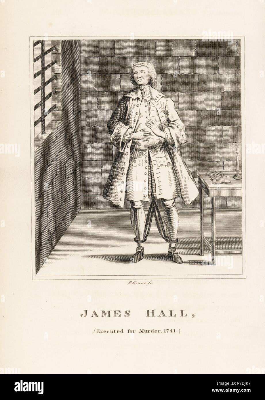 James Hall, executed for the murder of his employer in 1741. In shackles in his prison cell. Copperplate engraving by R. Grave from John Caulfield's Portraits, Memoirs and Characters of Remarkable Persons, Young, London, 1819. - Stock Image
