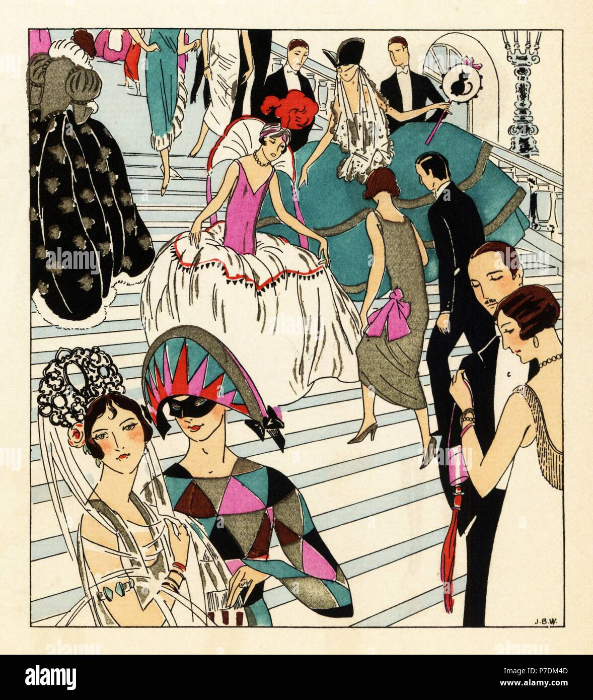Fashionable people ascending a staircase to a masquerade ball in ...