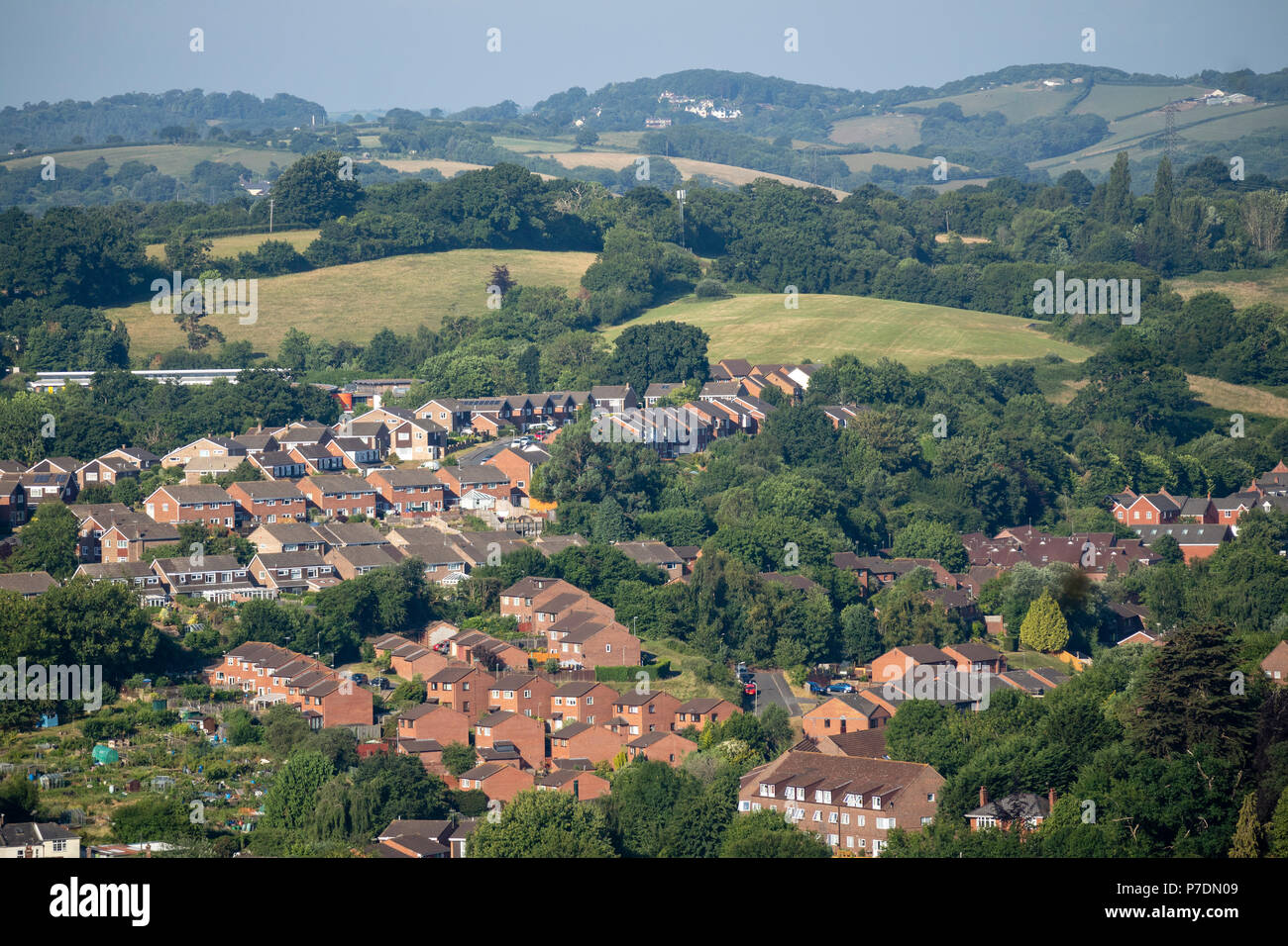 Exeter, Devon, UK. An overview of housing and countryside north east of Exeter city boundary. - Stock Image