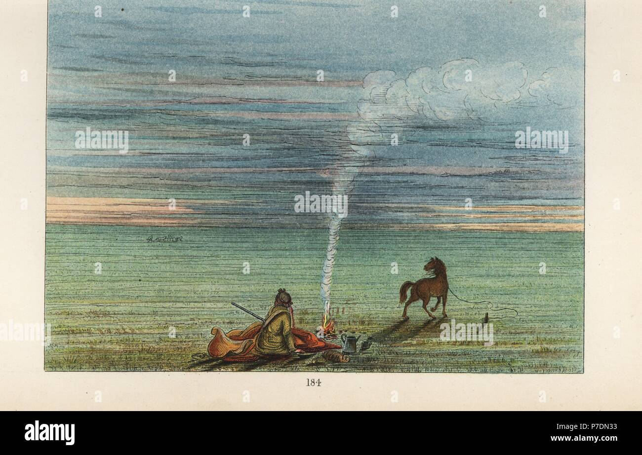 George Catlin camped at night on the Illinois prairie with his wild Comanche horse Charley. Handcoloured lithograph from George Catlin's Manners, Customs and Condition of the North American Indians, London, 1841. - Stock Image