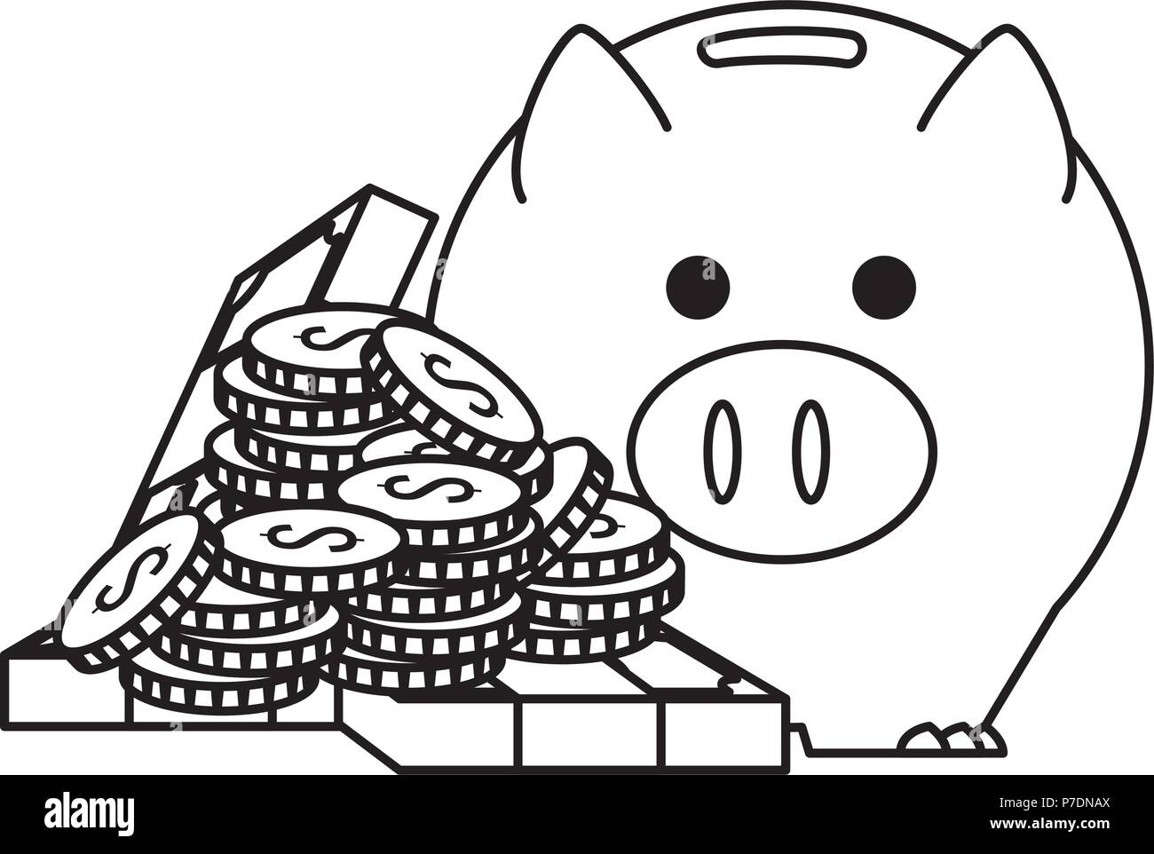 piggy savings economy icons - Stock Image