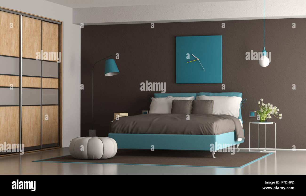 Blue And Brown Modern Master Bedroom With Double Bed And Wardrobe 3d Rendering Stock Photo Alamy