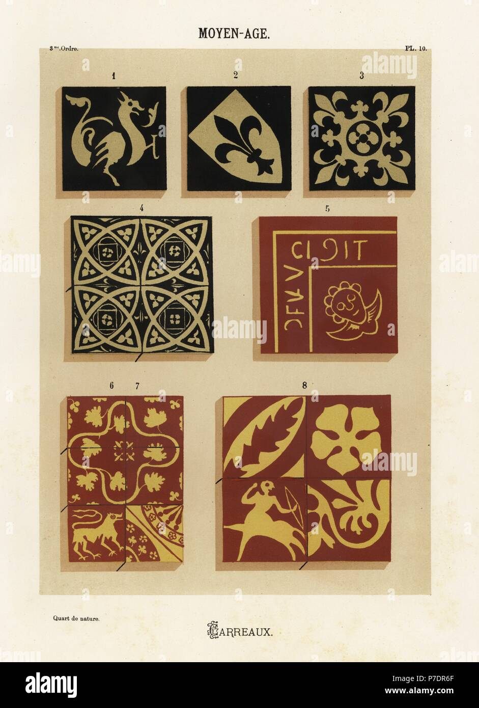 Ceramic tiles with heraldic designs, Middle Ages. Hand-finished ...