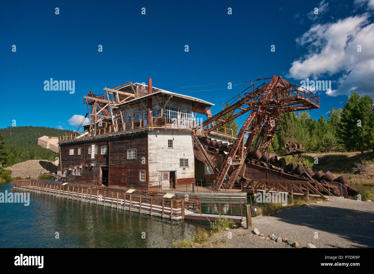 Old gold mining dredge at Sumpter in Blue Mountains, Oregon, USA - Stock Image