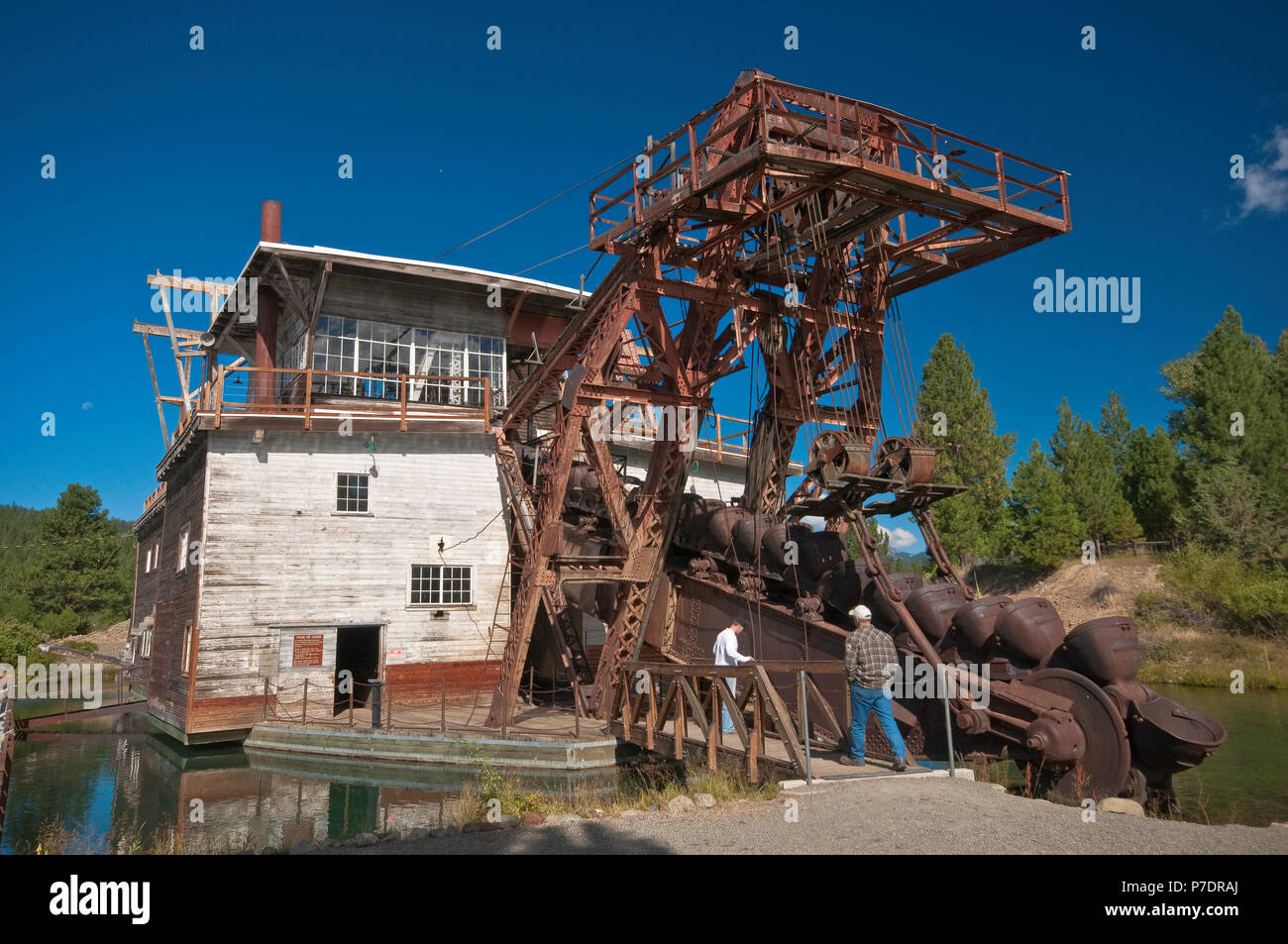 Boom with buckets at historic gold mining dredge in Sumpter in Blue Mountains, Oregon, USA - Stock Image