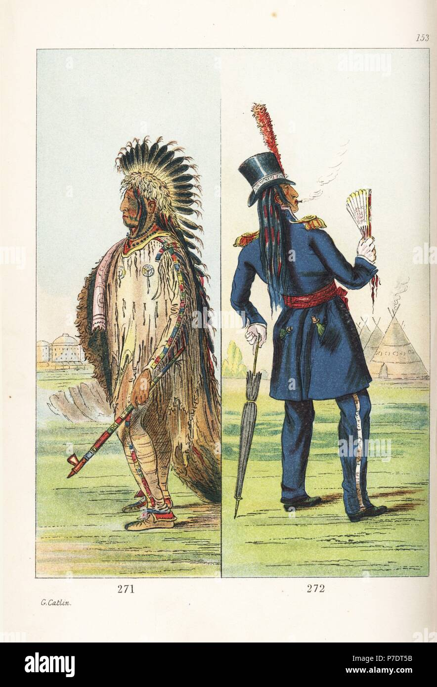 Assinboine chief Wi-jun-jon, Pigeon's Egg Head, in traditional costume of goatskin shirt and leggings, buffalo skin robe decorated with scalp-locks, and eagle feather headdress and in western dress after visiting Washington. Handcoloured lithograph from George Catlin's Manners, Customs and Condition of the North American Indians, London, 1841. - Stock Image