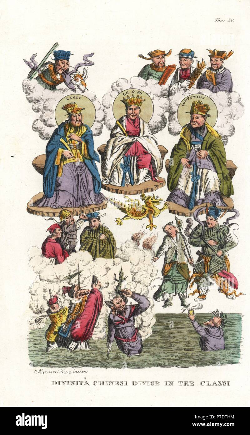 Chinese deities in three classes, with portraits of Lauzi, Amitabha Buddha (Fo) and Confucius, and gods of war, earth, water, stone, and philosophers. Handcoloured copperplate drawn and engraved by Andrea Bernieri from Giulio Ferrario's Ancient and Modern Costumes of all the Peoples of the World, Florence, Italy, 1843. - Stock Image