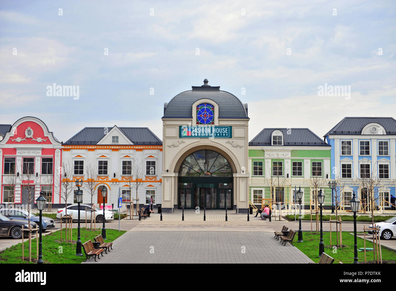 91183f5b7fee MOSCOW, RUSSIA - MAY 02: Facade of Fashion House outlet centre in Moscow on