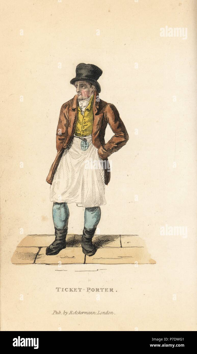 Ticket porter, errand boy and messenger to the Inns of Court, London, early 19th century. Handcoloured copperplate engraving from William Henry Pyne's The World in Miniature: England, Scotland and Ireland, Ackermann, 1827. - Stock Image