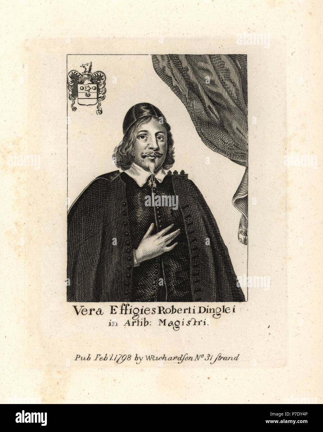 Robert Dingley, 1619-1660. Puritan divine and preacher, M.A. Magdalen College, Oxford. Copperplate engraving from William Richardson's Portraits Illustrating Granger's Biographical History of England, London, 1792–1812. James Granger (1723–1776) was an English clergyman, biographer, and print collector. - Stock Image