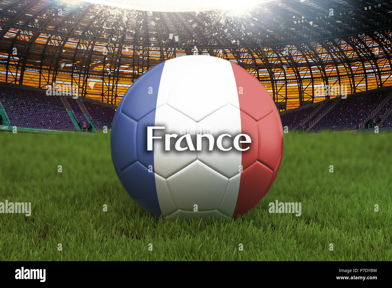 France football team ball on big stadium background. France Team competition concept. France flag on ball team tournament in Russia. Sport competition Stock Photo