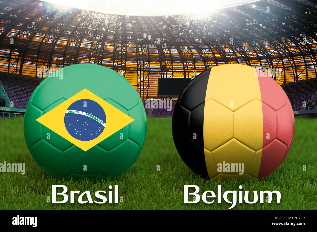 06f17f94c Brazil vs Belgium football team ball on big stadium background. Brazil vs  Belgium Team competition