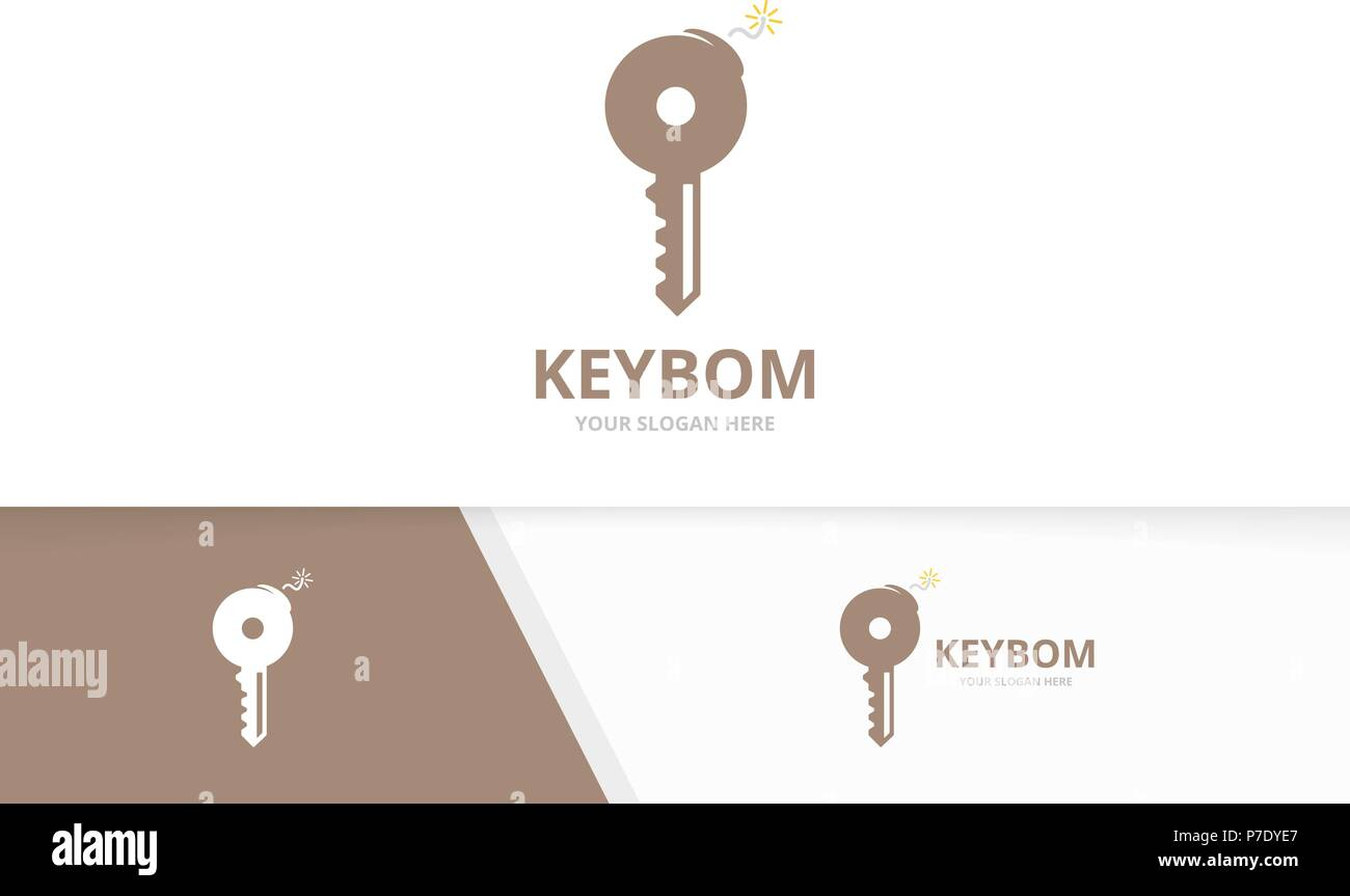 Vector key and bomb logo combination. Lock and detonate symbol or icon. Unique house and weapon logotype design template. - Stock Image
