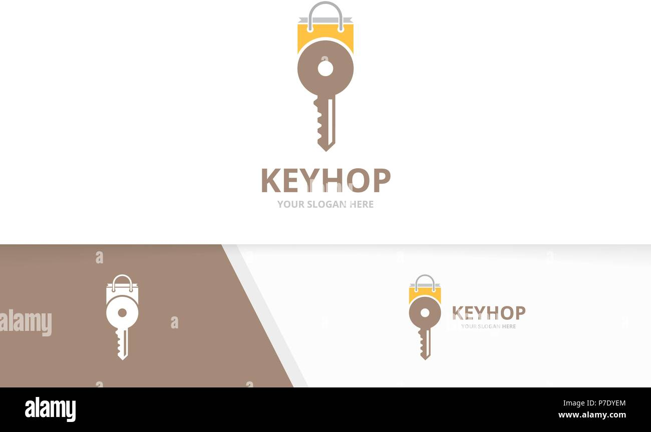 Vector key and shop logo combination. Lock and sale symbol or icon. Unique house and market logotype design template. - Stock Vector