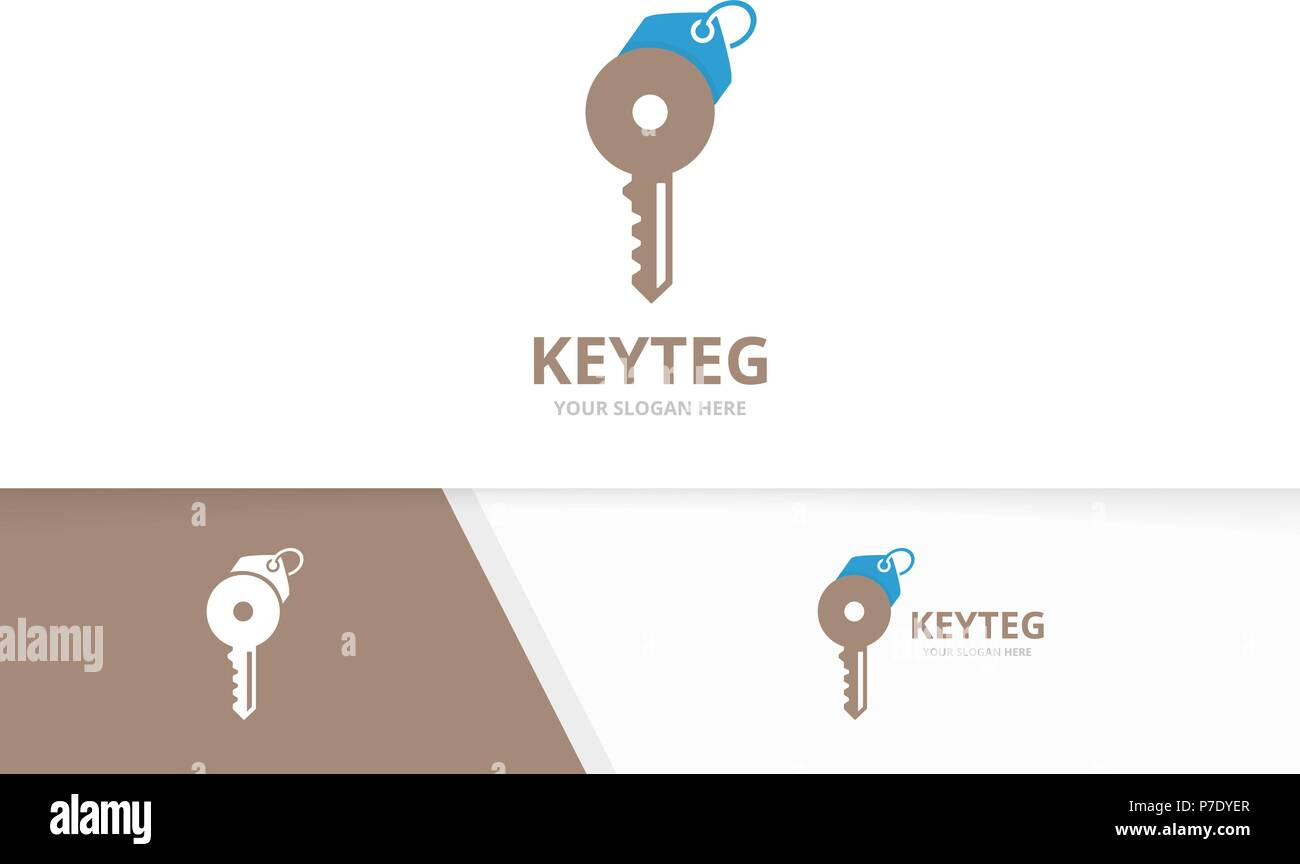 Vector key and tag logo combination. Lock and shop symbol or icon. Unique house and label logotype design template. - Stock Vector