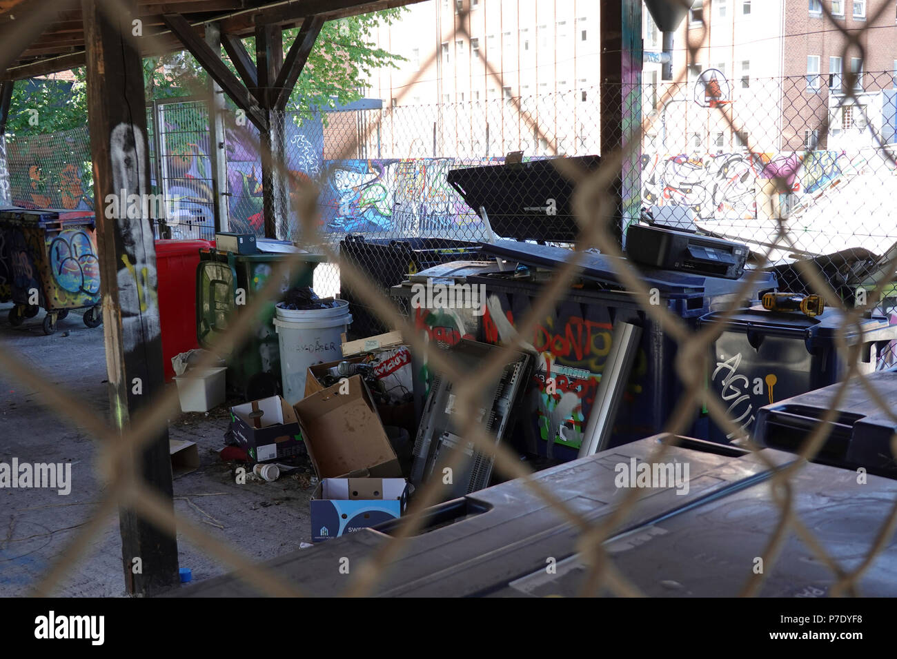 Trash area in Urban Noerrebro, Copenhagen Denmark - Stock Image
