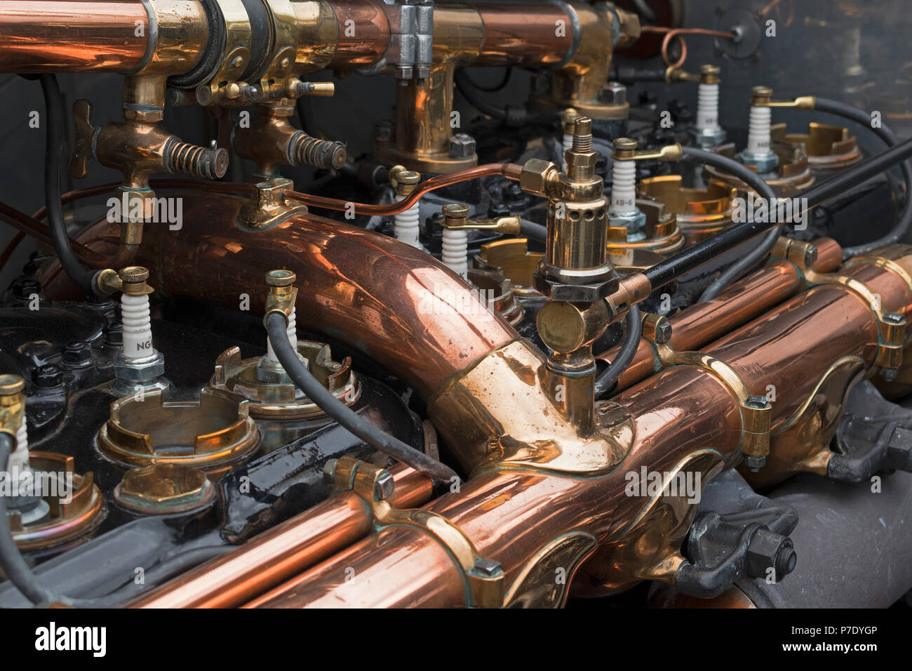 engine detail of a pre 1940 rolls royce silver ghost. - Stock Image