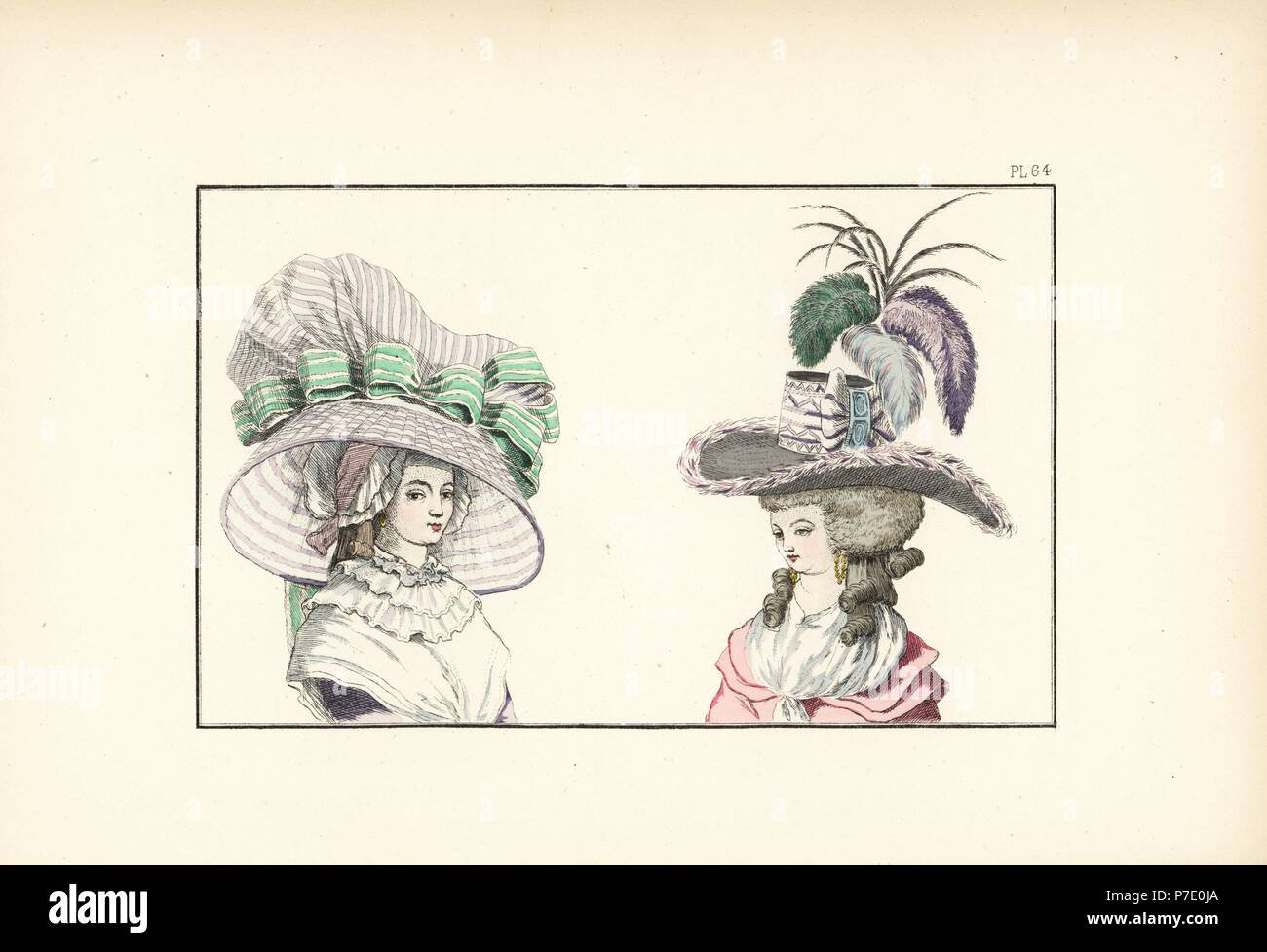 Woman in large striped bonnet-hat over a gauze night cap, and woman in black felt hat with feather trim, ribbons and plumes. Handcoloured lithograph from Fashions and Customs of Marie Antoinette and her Times, by Le Comte de Reiset, Paris, 1885. The journal of Madame Eloffe, dressmaker and linen-merchant to the Queen and ladies of the court. - Stock Image