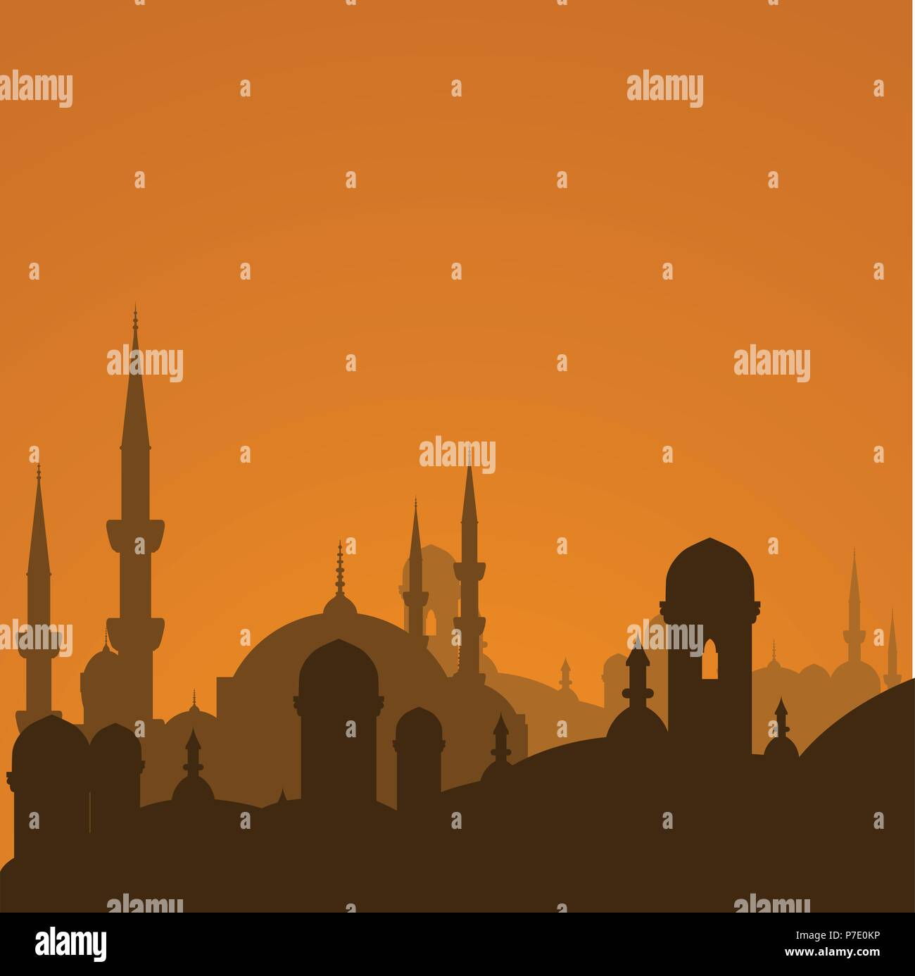 Arabic cityscape with mosque silhouette - Istanbul cityscape - Stock Vector